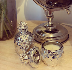 Silver pineapple Candles set of 2 - The Perfect Gift Co.