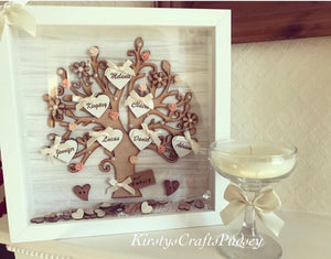 Copy of Family Tree Frame White/ Cream with Small Acrylic flowers - The Perfect Gift Co.