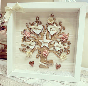 Family Tree Frame Cream/ White & blush Pink & Cream mix flowers - The Perfect Gift Co.