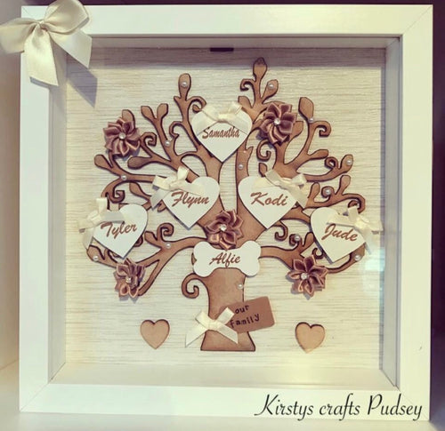 Family Tree Frame White/ Cream & Brown - The Perfect Gift Co.