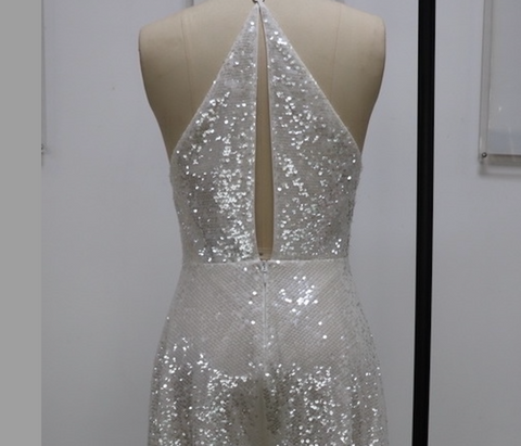 white sequin sheer jumpsuit wide leg bride style 30th birthday special occasion outfit
