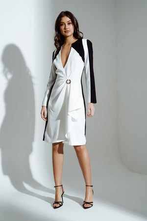 AVA MONOCHROME PANELLED DRAPE MIDI DRESS