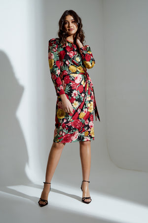 ELIZA ROSE FLORAL TIE DRAPE MIDI DRESS
