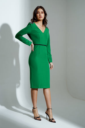 EMERALD EMBELLISHED SHOULDER COWL BACK MIDI DRESS