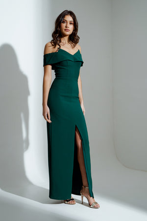 JENNIFER BARDOT MAXI DRESS - FOREST GREEN