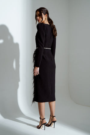 VIVIENNE FEATHER TRIM PUFF SHOULDER MIDI DRESS - BLACK