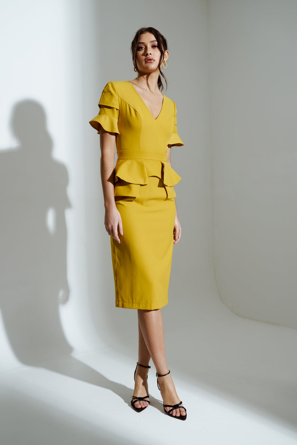 SAFFRON FRILL SLEEVE MIDI DRESS - GOLDEN YELLOW
