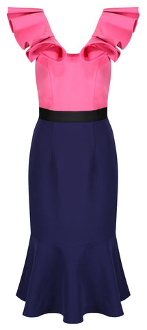 CHARLIZE COLOUR BLOCK FRILL SHOULDER DRESS