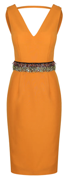 SOLAR COWL BACK DRESS - ORANGE