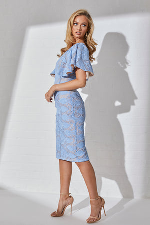 ZAFIRA LACE FRILL SLEEVE MIDI DRESS