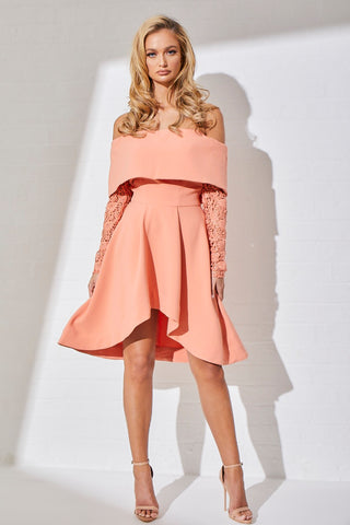 SIRIUS BARDOT DRESS - CORAL
