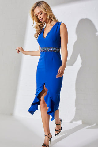 TOPAZ BEADED WAIST FRILL HEM DRESS