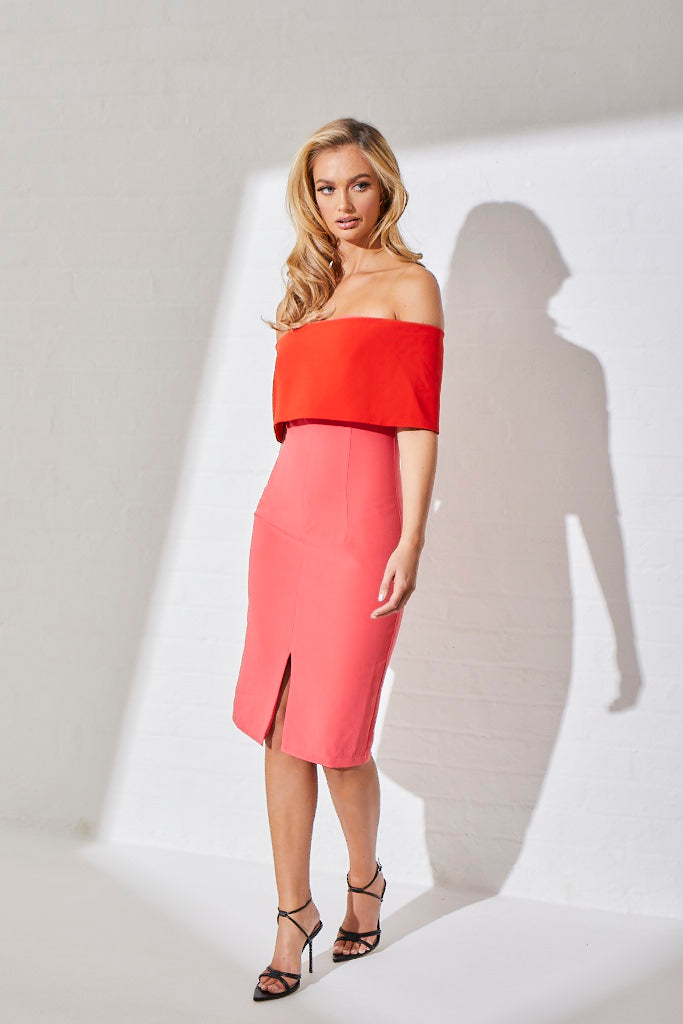 CARINA COLOURBLOCK BARDOT MIDI DRESS