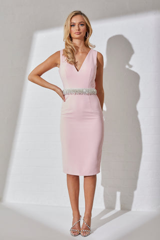 **PRE ORDER** SOLAR COWL BACK DRESS - PALE PINK