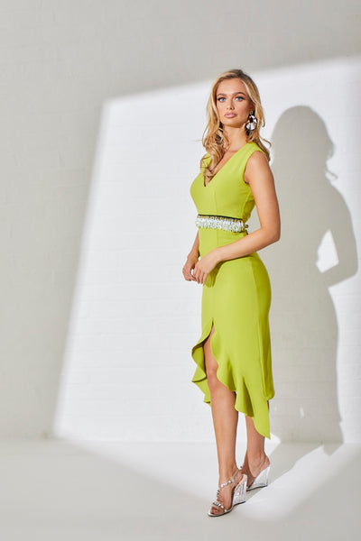 TOPAZ BEADED WAIST FRILL HEM DRESS - LIME