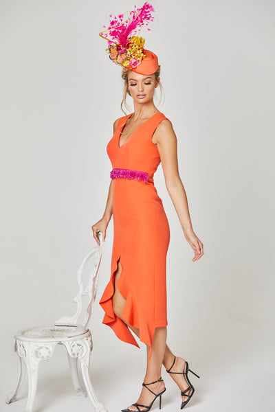 TOPAZ BEADED WAIST FRILL HEM DRESS - ORANGE & PINK