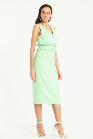 CASSIA FRILL WAIST MIDI DRESS - PASTEL GREEN