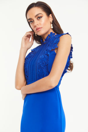 SAPPHIRE LACE FISHTAIL MIDI DRESS