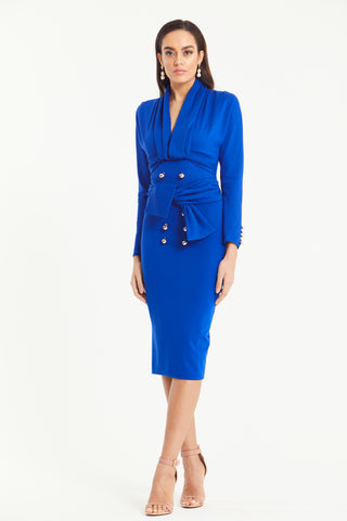 MADISON MILITARY BUTTON WRAP TIE DRESS