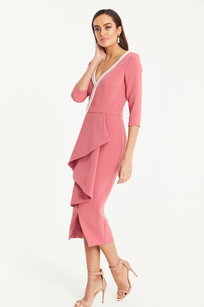 FLORENCE PEARL FRILL FRONT MIDI - DUSKY PINK