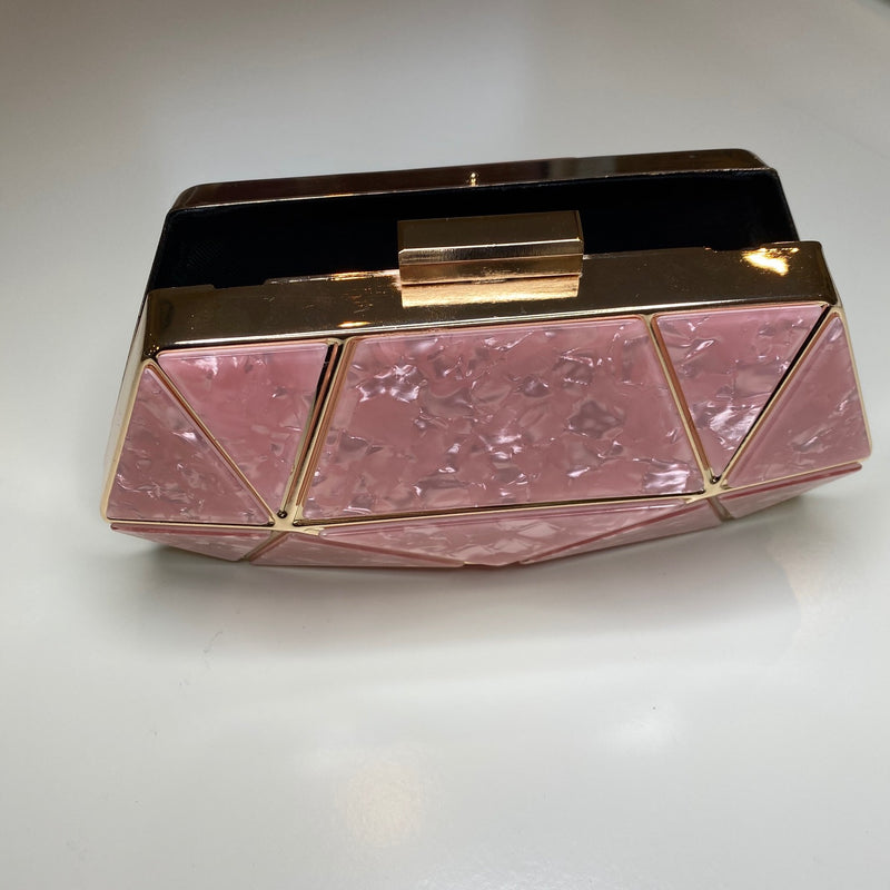 ROSA LUCITE MARBLED CLUTCH BAG - DUSKY PINK