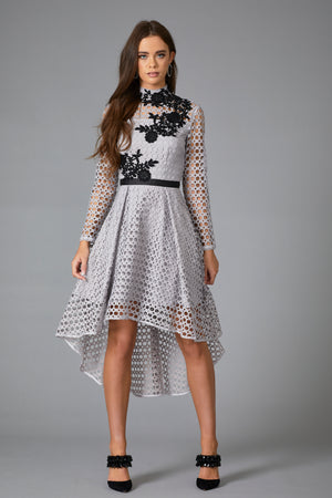LYCO LACE APPLIQUE DRESS - GREY