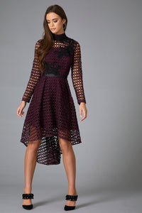 LYCO LACE APPLIQUE DRESS - PURPLE
