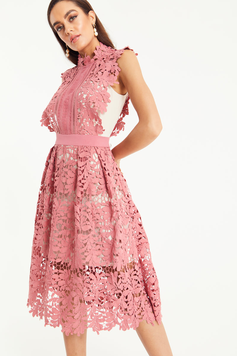 SAKURA LACE MIDI SKATER DRESS