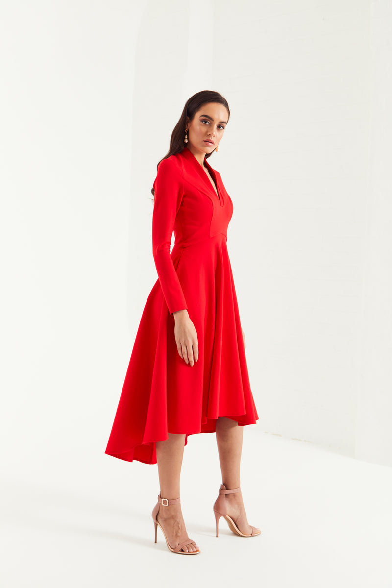 AMORA FULL SKIRT MIDI DRESS WITH POCKETS - TOMATO RED