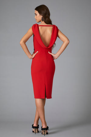 SOLAR COWL BACK DRESS - RED