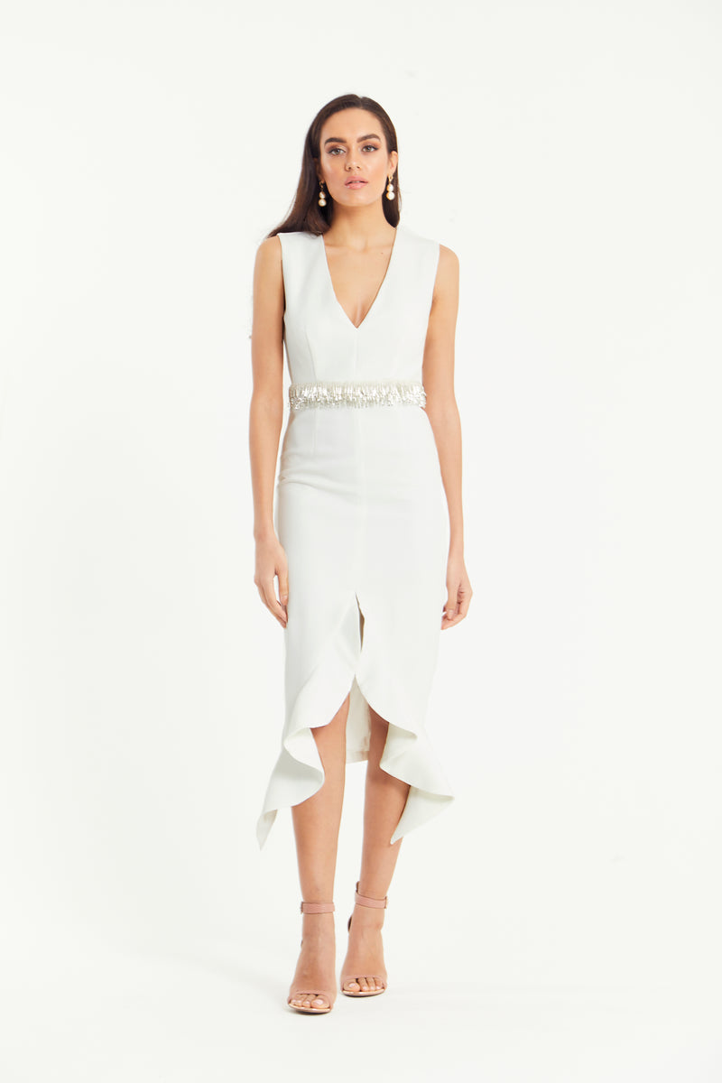 TOPAZ FRILL HEM DRESS - WHITE