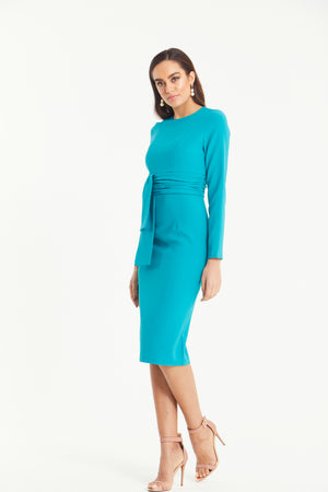 AZURE BELT DETAIL LONG SLEEVE MIDI - TURQUOISE