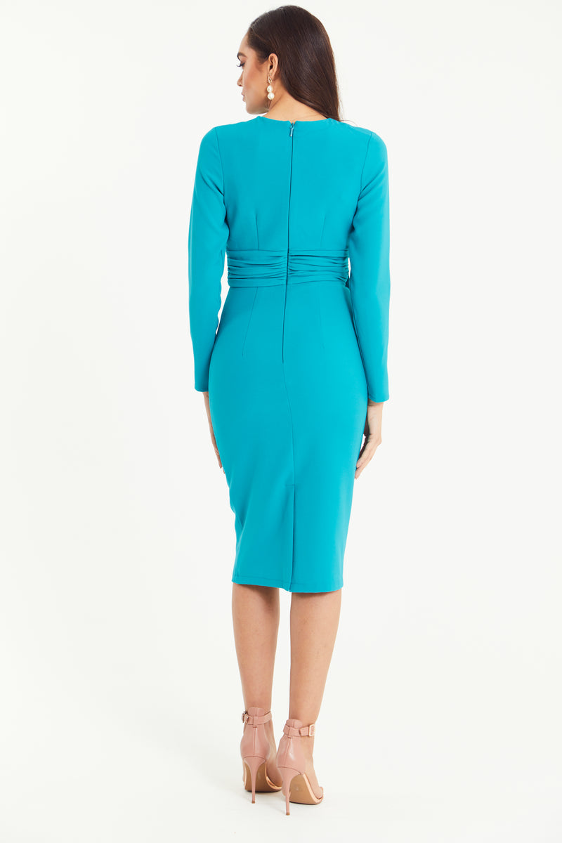 AZURE BELT DETAIL LONG SLEEVE MIDI DRESS - TURQUOISE