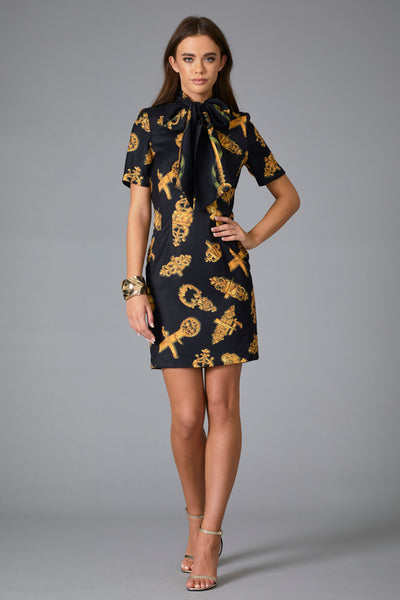 DOLCE PRINT BOW MINI DRESS