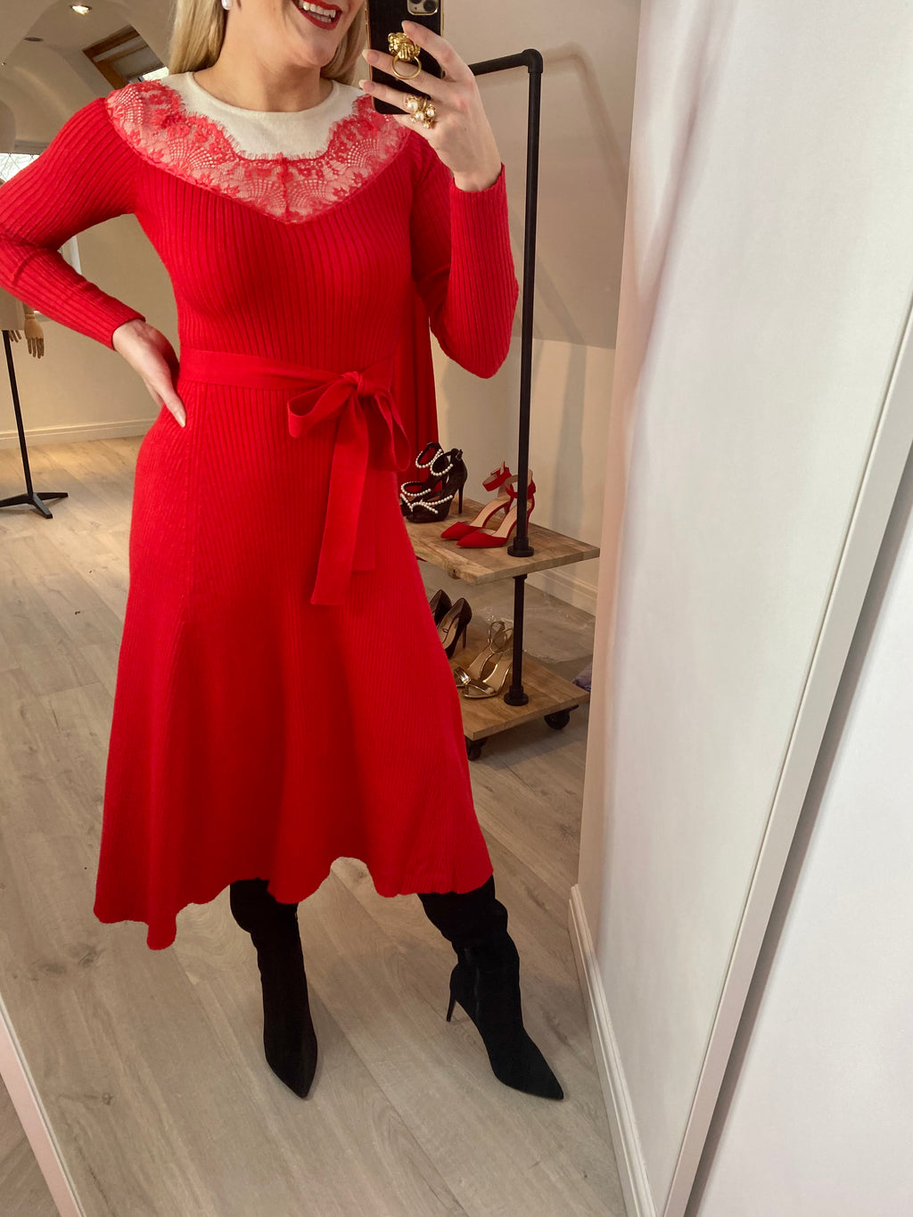 CLARA KNITTED LACE DETAIL MIDI DRESS - RED