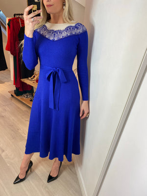 CLARA KNITTED LACE DETAIL MIDI DRESS - COBALT BLUE
