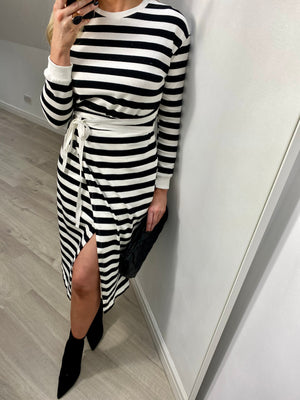 MARISSA STRIPE WRAP MIDI DRESS