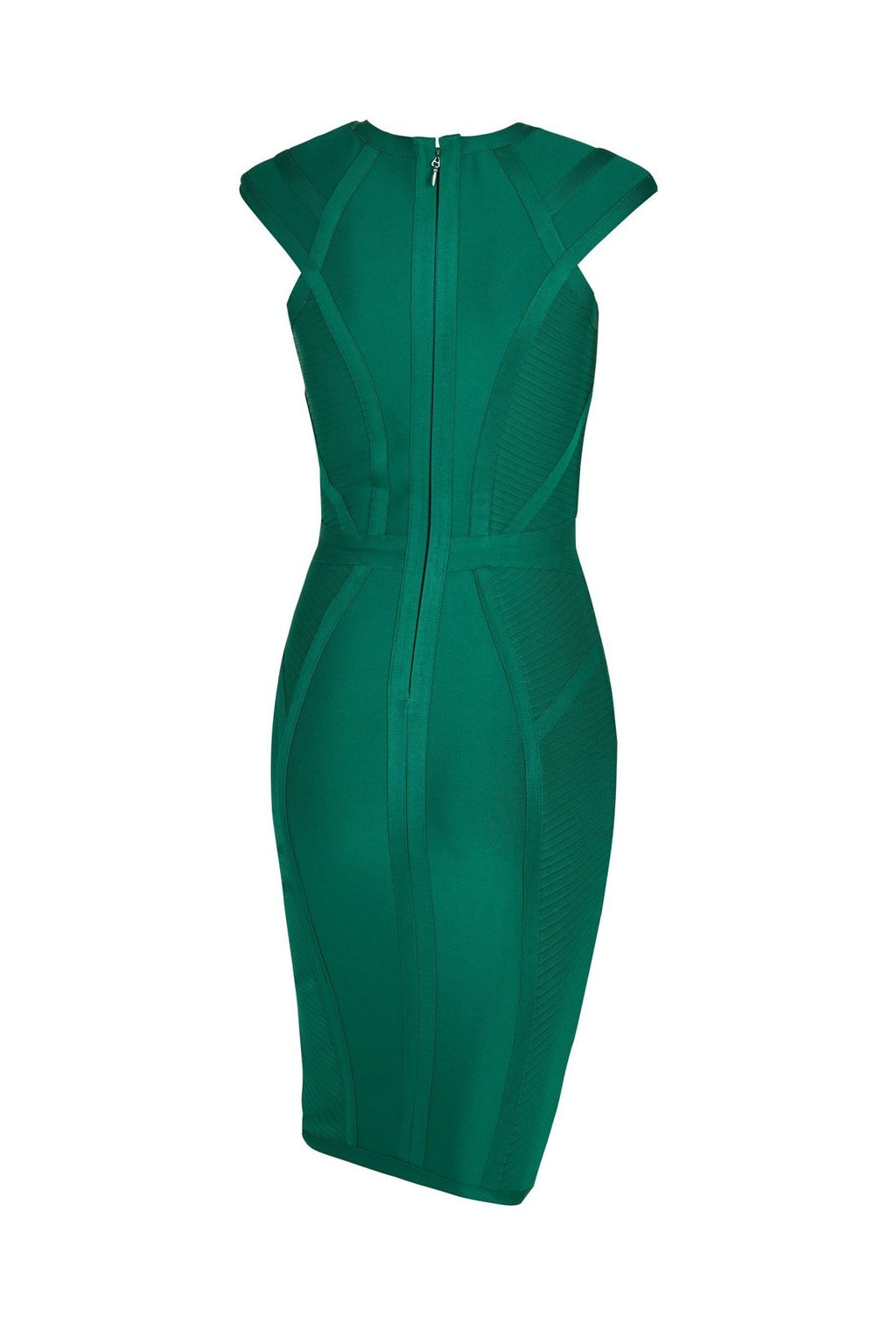 MARIANNE PANELLED BANDAGE MIDI DRESS - GREEN