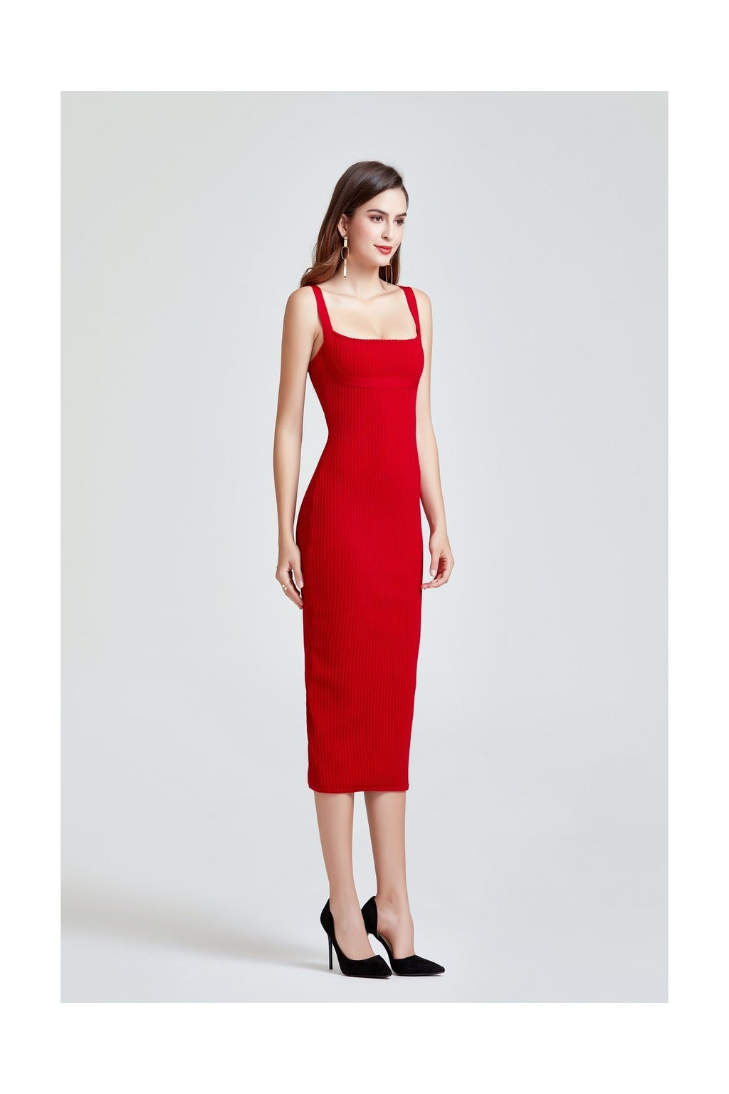 AMELIE RED RIBBED BANDAGE MIDI DRESS