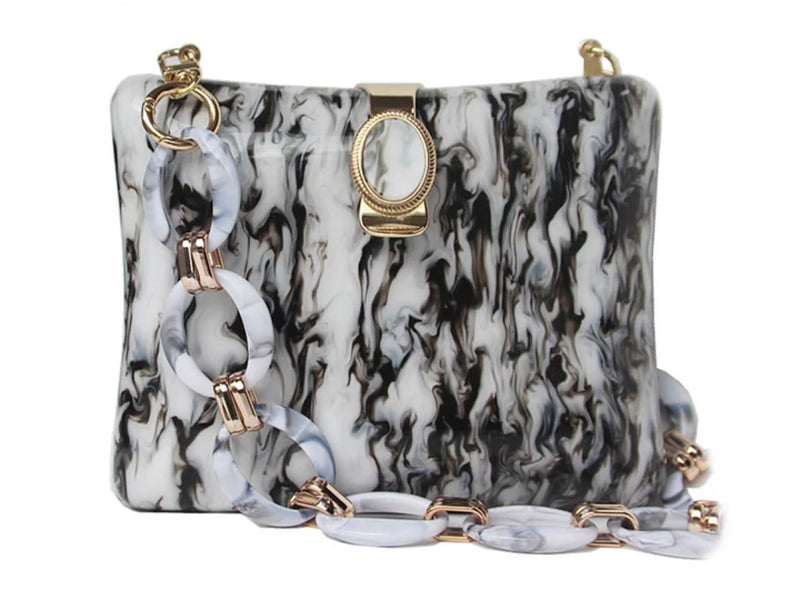 LUNA MONOCHROME MARBLED BOX BAG