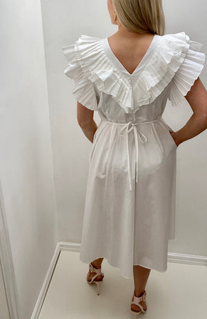 8TH SIGN SUMMER: PARIS PLEAT RUFFLE SHIRT DRESS - WHITE