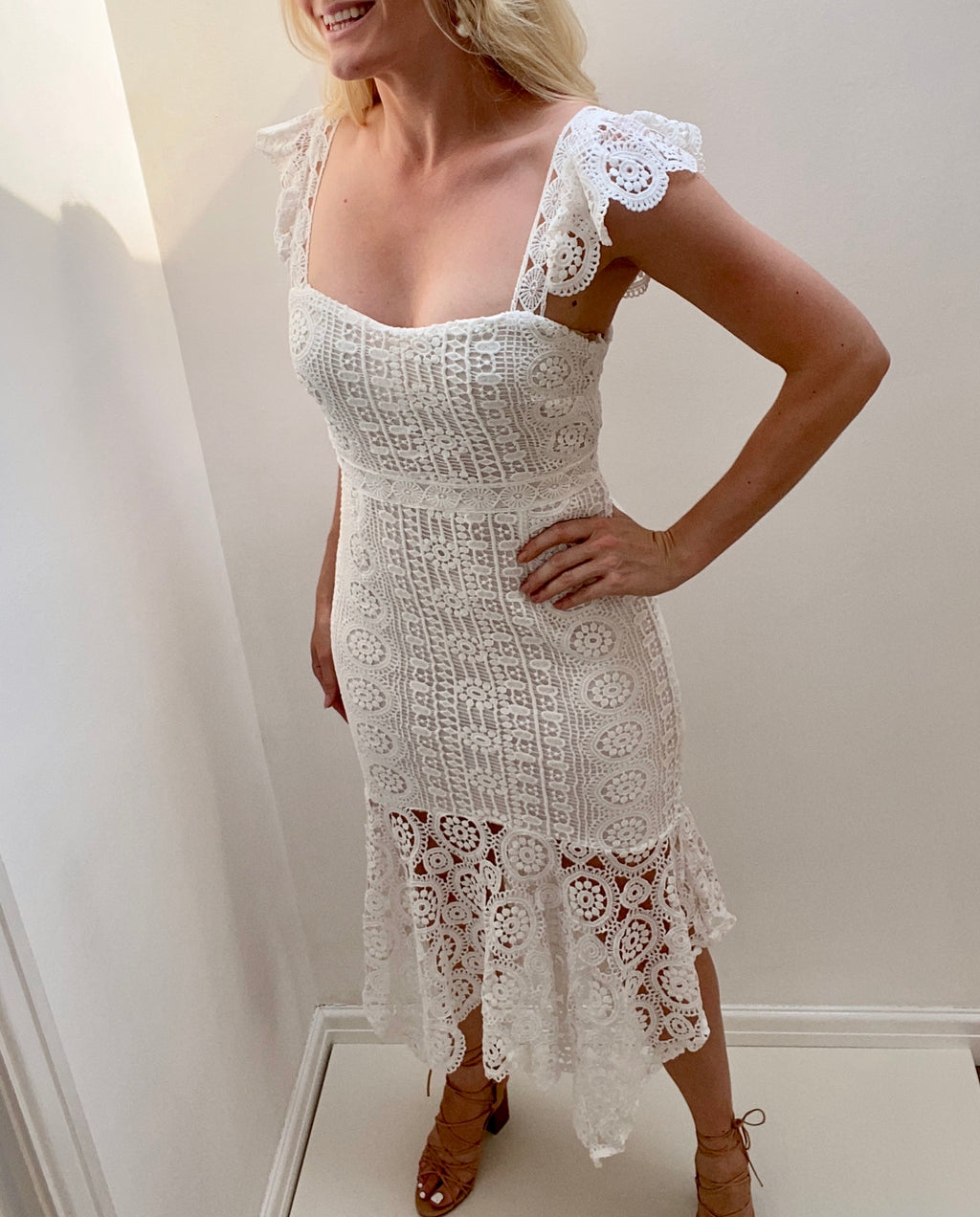 **PRE ORDER** 8TH SIGN SUMMER: SORRENTO CROCHET LACE MIDI