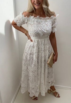 8TH SIGN SUMMER: TROPEZ WHITE CROCHET LACE BARDOT DRESS