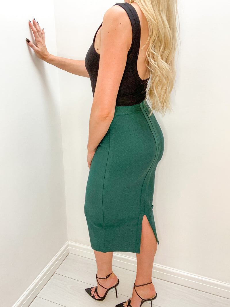 JADE GREEN BANDAGE PENCIL SKIRT