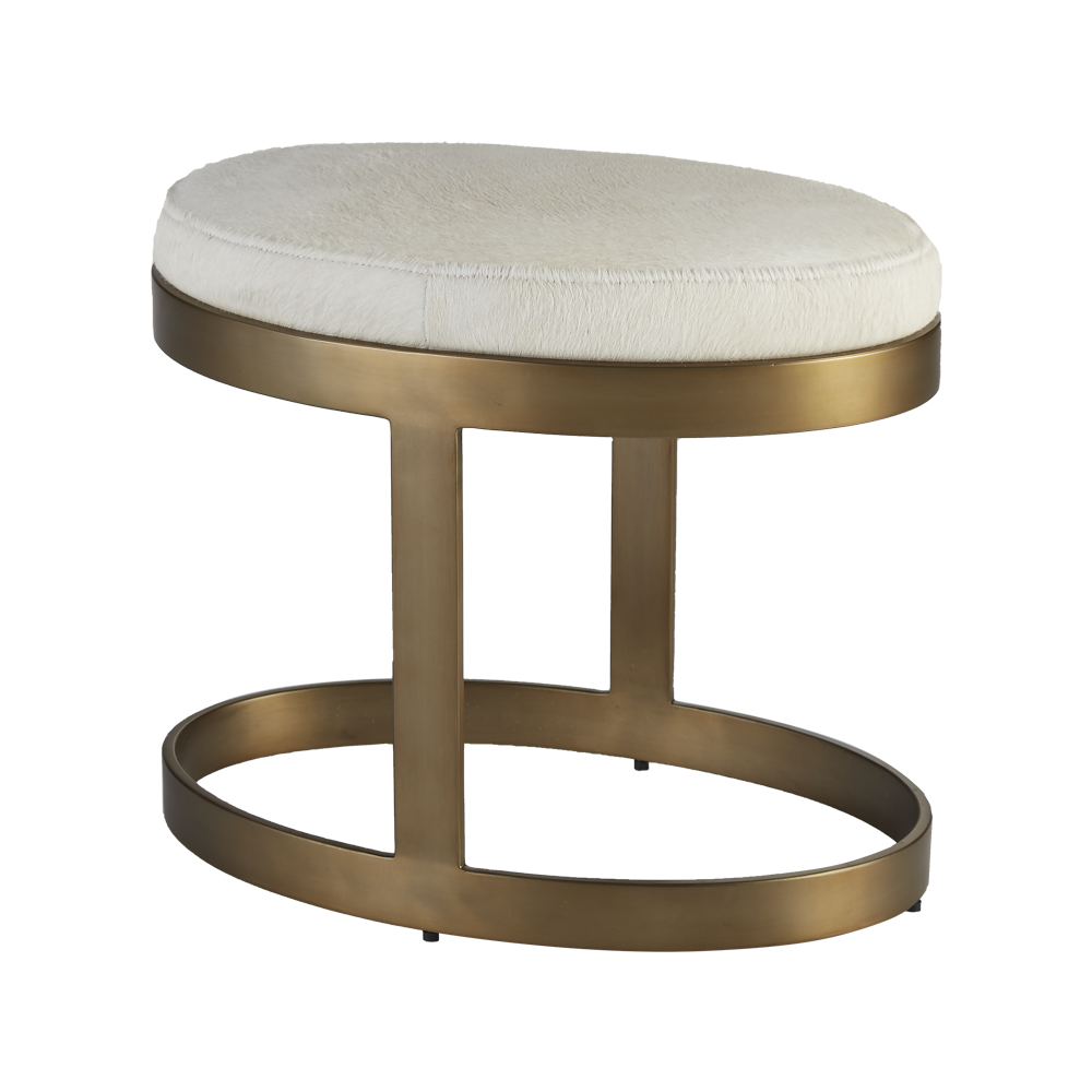 Ellipse Bench Ivory Antique Gold
