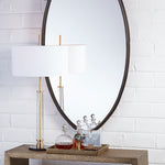 Ellipse Mirror Oval Antique Bronze - Pendulux