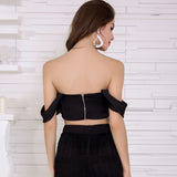 black off shoulder crop top