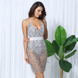 silver beads bodycon dress