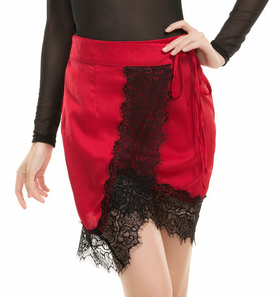 rose red cross stitching lace skirt