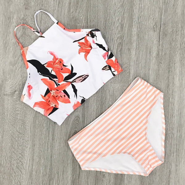 floral and stripe mix print bikini